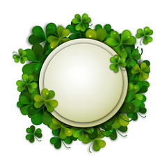 Saint Patrick's Day vector background, round banner decorated with shamrock leaves