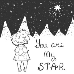 Vector illustration ,You are my star - lettering, girls is watching at the star
