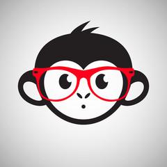 Cute monkey in glasses, vector illustration