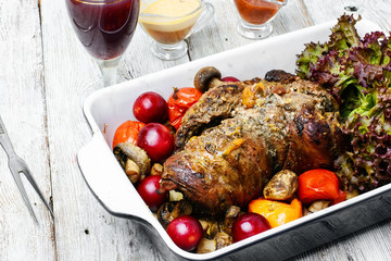 Baked meat and wine