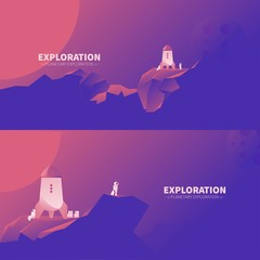 Poster Violet Exploration of other planets landscape
