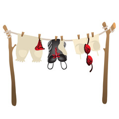 Womens underwear drying on rope outdoors