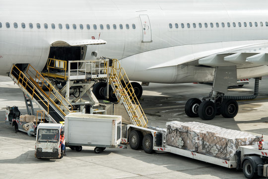 paris airport landing and loading cargo and passenger