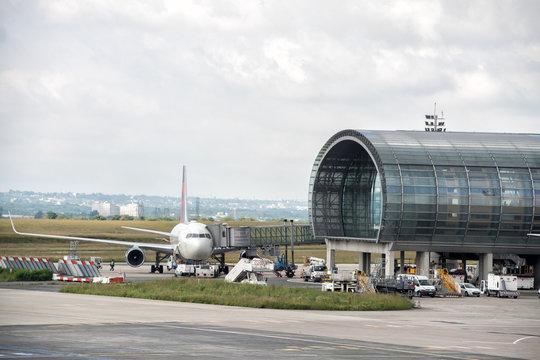 PARIS, FRANCE - JUNE 17 2016 - paris airport landing and loading cargo and passenger