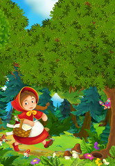 Cartoon scene on a happy girl inside colorful forest - illustration for children