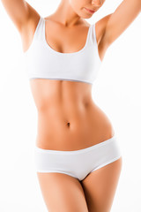 Close up of beautiful healthy fit slim female body