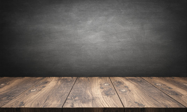 wooden table with blackboard