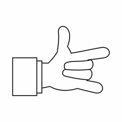 I Love You hand sign icon in outline style isolated vector illustration