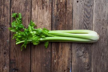 fresh celery on old background