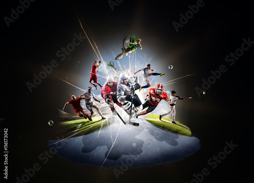 multi sports collage soccer basketball hockey footbal baseball dirt
