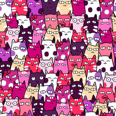 Funny kittens. Vector seamless pattern