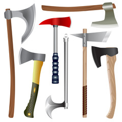 Set of different axes, modern and ancient. Isolated vector objects.