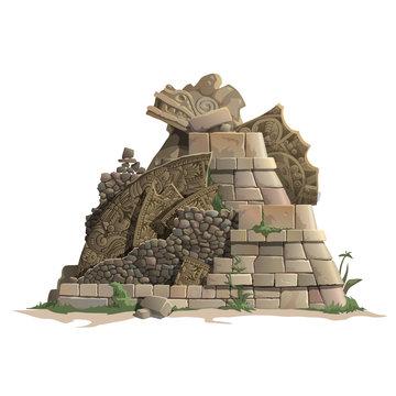 Ruins of antique Mayan pyramid, cartoon style