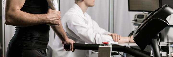 Athlete checking his aerobic capacity at doctor's