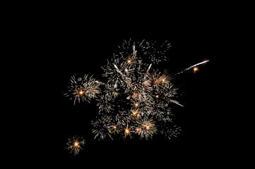 Celebration fireworks isolated on black background.