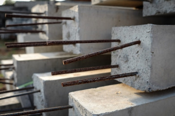 Cement poles with steel