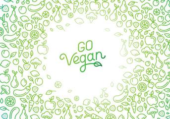 Fototapeta Go vegan - motivational poster or banner with hand-lettering obraz
