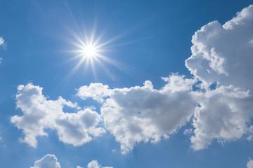 hot sunny blue sky background
