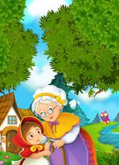 Cartoon scene - granddaughter and grandmother - illustration for children