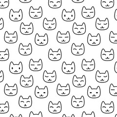Cute linear pattern with cat faces