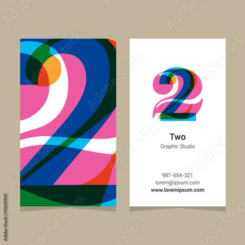 Logo number 2 with business card template vector graphic design logo number 2 with business card template vector graphic design elements for reheart Image collections