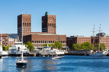 Oslo harbor and City Hall