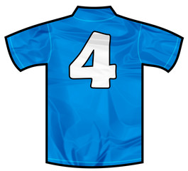 Number 4 four Blue sport shirt as a soccer,hockey,basket,rugby, baseball, volley or football team t-shirt. Like Italy or France national team