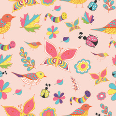 Summer color vector seamless patterns. Repeating texture