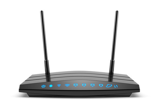 Wireless wi-fi black router with two antennas and blue indicator