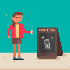Cool vector hipster woman character with coffee .Billboard with coffee.Urban citizen character.Coffee shop.Vector illustration.