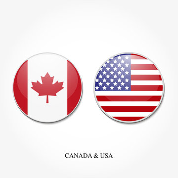 Two round USA flag and Canada on a white background