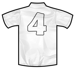 Number 4 four white sport shirt as a soccer,hockey,basket,rugby, baseball, volley or football team t-shirt. Like German or England or USA national team