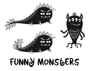 Set of Cute Different Cartoon Characters, Monsters, Elements for your Design, Prints and Banners, Black Contour and Silhouette. Vector