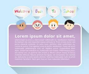 Set of boys face cartoon character say welcome back to school in gray quote text box and purple poster on blue background, flat design with long shadow