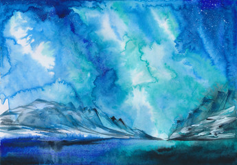 Beautiful Aurora winter landscape with snowy hills in the distance. Watercolor painting.