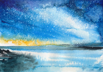 Beautiful Aurora seascape with shiny reflective water surface under the starry sky. Watercolor painting.