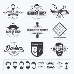 vintage barber shop logo set