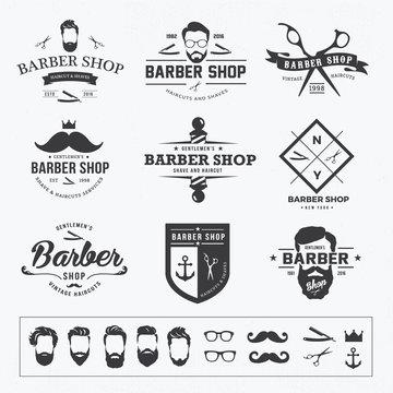 vintage barber shop logo set
