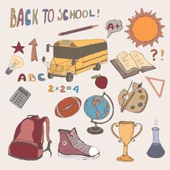 Color hand drawn school icons set