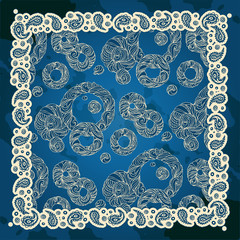 Paisley and round. Bandana print with design for silk neck scarf.Traditional ethnic pattern.  vector image.
