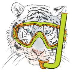 Tiger in a mask for diving. Vacation and sea. Swimming. Sport.