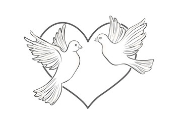 A pair of doves on heart background, vector illustration