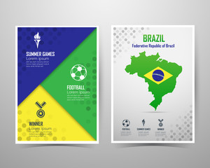 Summer games brazil banner template, A4 size, vector illustratio