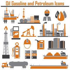 Oil platform design concept set with petroleum flat icons isolat