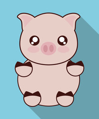 Cute animal design represented by kawaii pig icon. Colorfull and flat illustration.