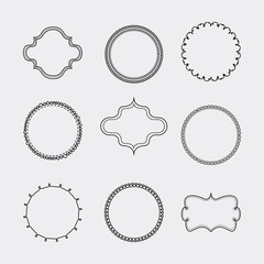 Set of Label and decoration icon. Hand draw design. Vector graph