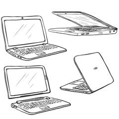 Vector Set of Sketch Laptops