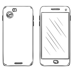 Vector Set of Smartphones. Back and Front View.