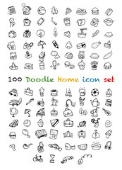 100 Vector new Doodle Icons Universal Set