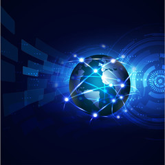 world with network communication and global technology concept,